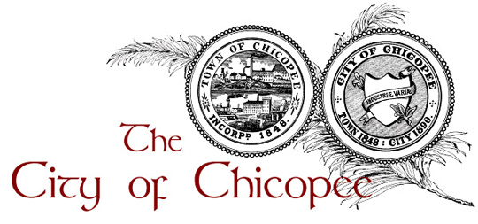 City of Chicopee Banner with feather, city seal and town seal