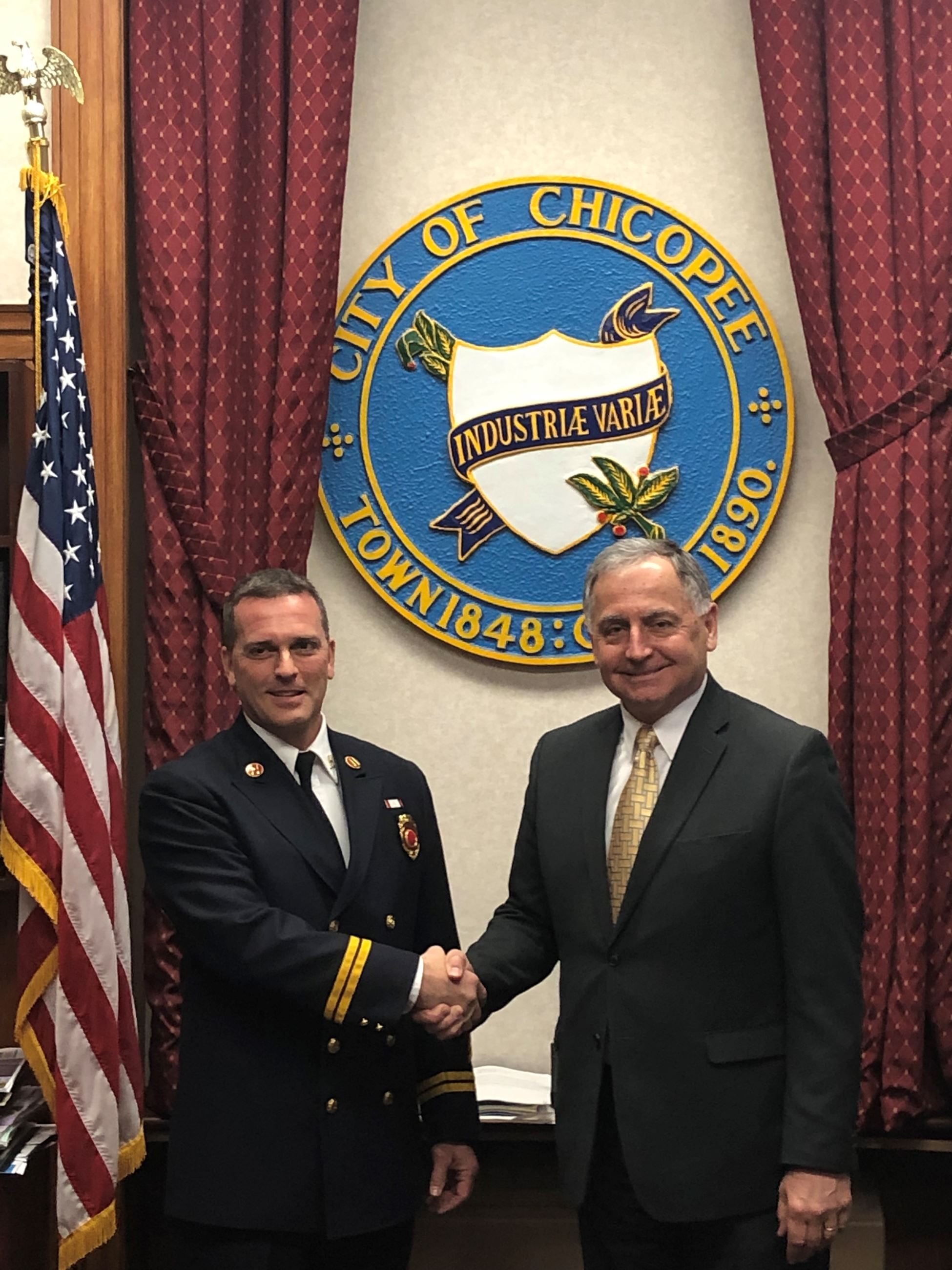 Temporary Chief Stamborski Photo with Mayor Kos